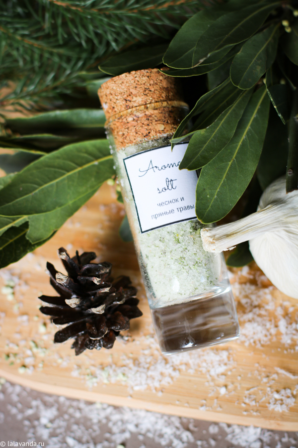 Новогодние подарки своими руками - соль с чесноком и травами для птицы