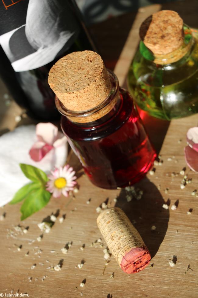 домашние средства для снятия косметики - масляная смесь и винный тоник