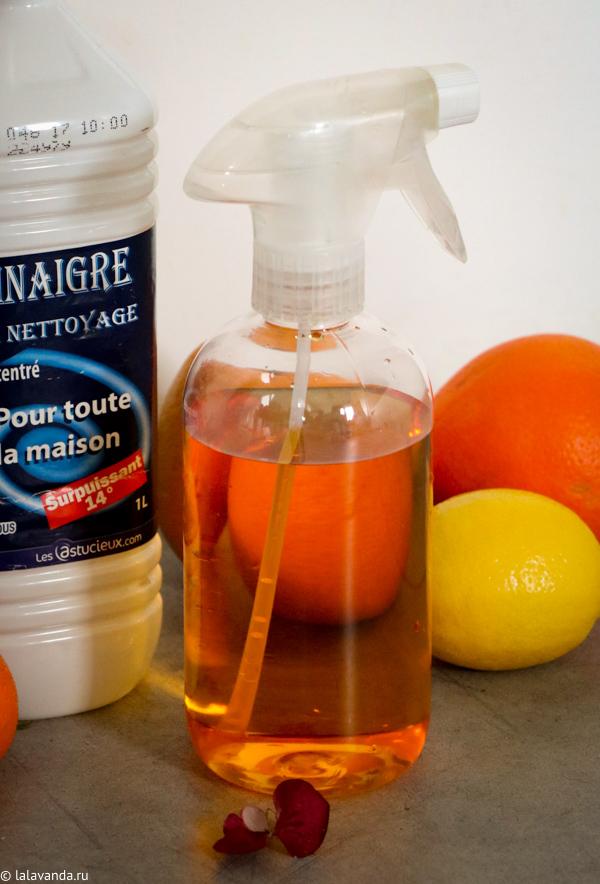 Домашняя бытовая химия - апельсиновый уксус для уборки.