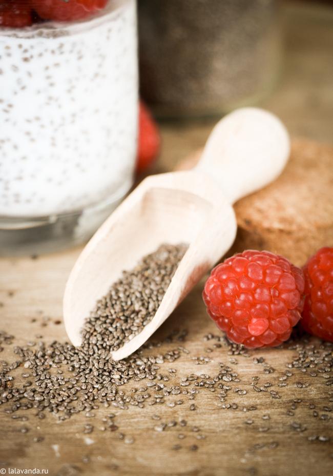 семена чиа, полезный завтрак, пудинг с чиа